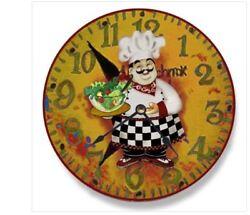 Italian Chef Salad Wall Clock Ideal Kitchen Companion Novelty Plastic Whimsical