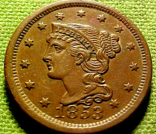 1853 Braided Large Cent 1c ~ VERY NICE HIGHER GRADE W/ SOLID DETAILS COIN ~ 31YJ