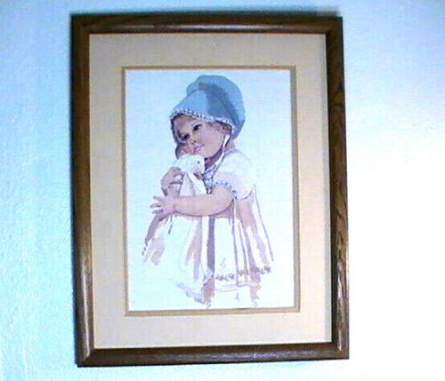 Girl Doll Needlepoint Framed Completed  Printed Embroidery Cross Stitch 19.5x16
