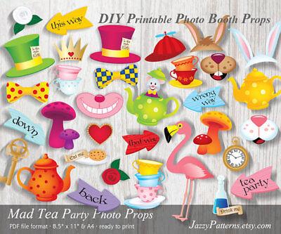 DIY Mad Tea Party printable photo booth props Alice Adventures In Wonderland PDF