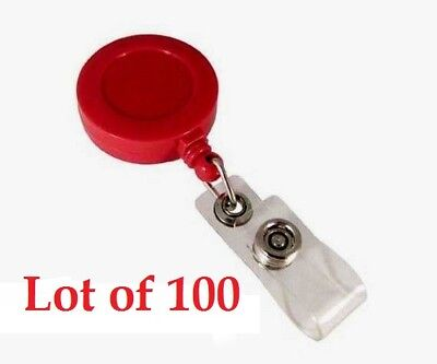[Lot of 100] Red 1.25'' Retractable Badge ID Reel with Vinyl Strap & Belt Clip Retractable Badge-id Clip