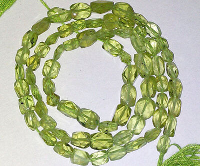 Faceted Brick (Natural Stone Peridot Faceted Brick Gemstone Beads 4X6mm AAA 14)