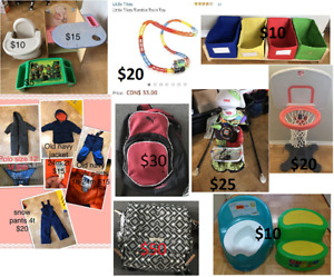 used kids toys, bag, jackets and table