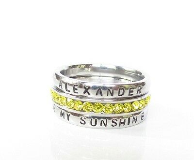 Birthstone Stack Rings (Stackable Personalized Ring, You Are My Sunshine Birthstone Stacking)