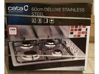 CATA GH600 4 BURNER STAINLESS STEEL GAS INTEGRATED GAS HOB