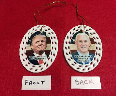 Donald Trump   Mike Pence 45Th President Vice Porcelain Christmas Ornament New