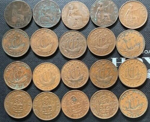 Lot of 20 Great Britain New Zealand Half Pennies Penny 1866-1964 Victoria