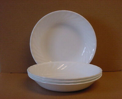 4 Corelle Enhancements 20-oz Shallow Pasta Bowls (White Swirl) New Made in USA