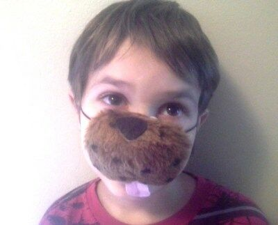 Furry Spotted Brown Dog Puppy Nose w/ Tongue animal mask costume party favors (Dog Nose Costume)