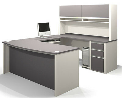 Bestar Connexion U Office Desk with 3 Drawer Pedestal in Sandstone & Slate