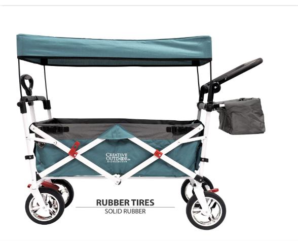 Creative Outdoor Push Pull Folding Wagon TEAL