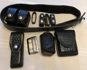 Police basket  weave  black leather duty rig