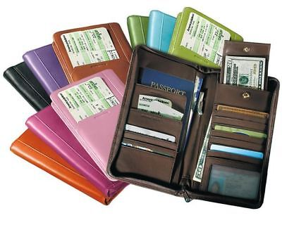 (NEW) Passport Airline Ticket Holder Wallet Purple Leather Easy Travel Accessory Airline Ticket Wallet