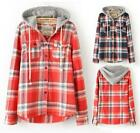 Womens Hooded Plaid Shirt