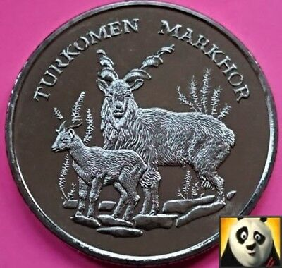 1986 Rare Markhor Screw Horn Goat Preserve Planet WWF For Nature Coin Medal