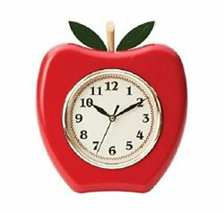WALL CLOCK,  APPLE WALL CLOCK, HEAVY PLASTIC, MEASURES 9 X 8 INCH