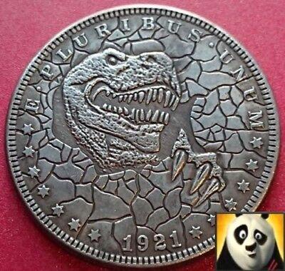 1921 US Silver $1 Morgan Dollar Hobo T-Rex Dinosaur Carved Fantasy Coin for sale  London