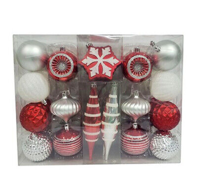 40ct Red White and Silver Shatterproof Christmas Tree Ornament Set Wondershop ()