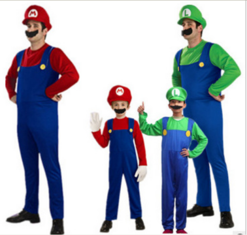 Erwachsene/Kinder Cosplay Super Mario Luigi Brothers Klempner Kostüm Karneval B6