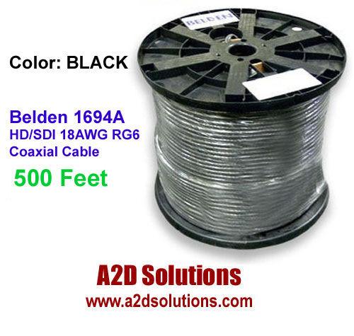 Belden 1694A 500 Ft - 010-500 HD/SDI 18AWG RG6 Digital Coaxial Cable BLACK