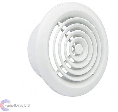 "Internal Ventilation Grille Round White 4"" 100mm Duct Extractor fan Bathroom"