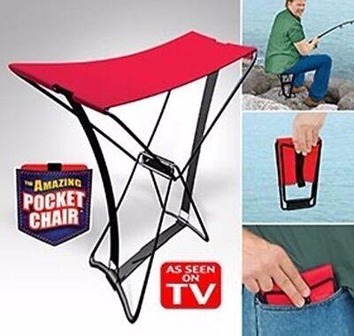 Pocket Chair Klappstuhl Hocker Angeln Wandern Konzert Camping Klapphocker rot x