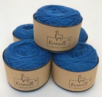 Alpaca Wool Skeins 100% Baby Alpaca Yarn Lot of 5 Bright Blue Color A5015 for sale  Gilbert