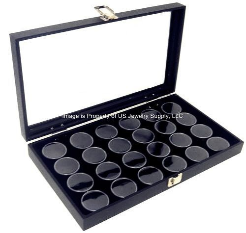 1 Glass Top Lid Black 24 Jar Box Case Display Gems Body Jewelry Gold Nugget