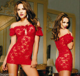 LADIEs WOMENs SEXY RED LACE LINGERIE NIGHTWEAR BODY & G-STRING BABYDOLL