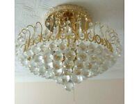 Vintage Crystal Golden Chandelier 9 bulbs - 8 tiers Good condition