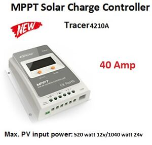 Tracer 40 Amp MPPT Solar Charge |Controller with Screen Display