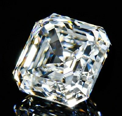 Perfect Asscher Cut 7x7 mm 3.3 ct VVS D White Brilliant Lab Diamond Solitaire