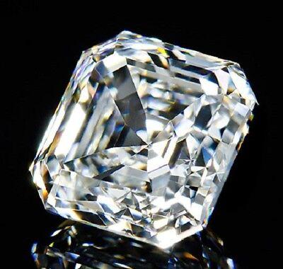 Perfect Asscher Cut 8x8 mm 4 ct VVS D White Brilliant Lab Diamond Solitaire