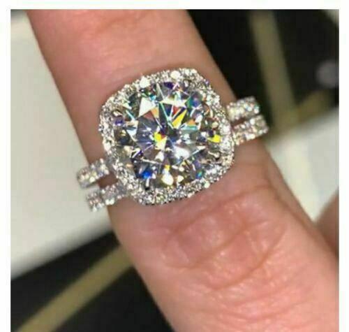 Certified 3.10ct White Moissanite Wedding Engagement Ring Se