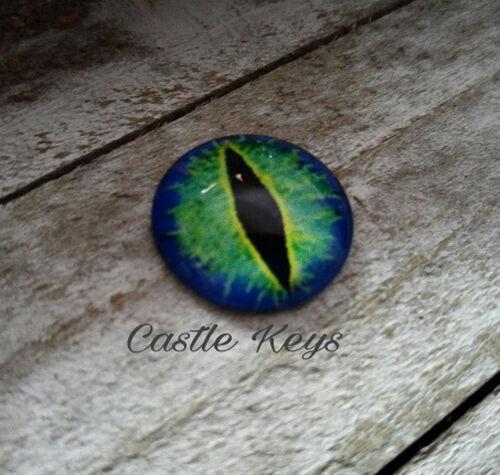 """Eye Cabochon Dragon Eye Cabochon 25mm 1"""" Round Glass Cabochon Domed Blue Green"""