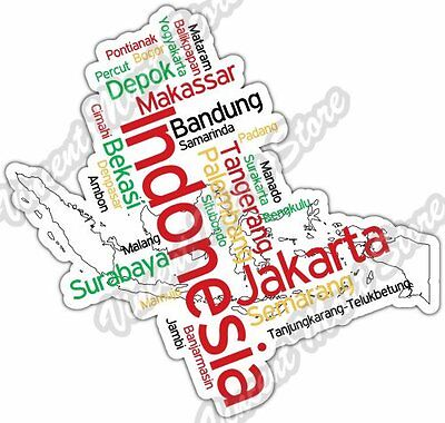 Indonesia Jakarta Depok Country Map Word Cloud Bumper Vinyl Sticker Decal 5