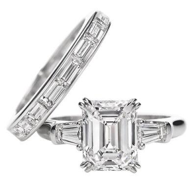 1.24 Ct Three Stone Emerald & Baguette Cut Diamond Engagement Ring I,VS2 GIA 2