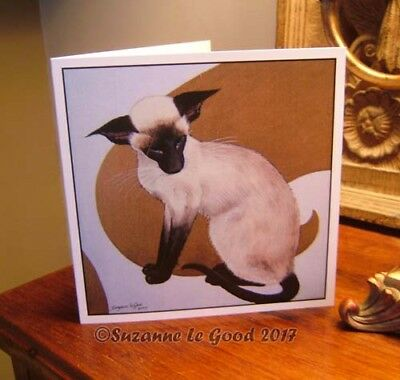 Siamese Cat painting art greetings card original design by Suzanne Le Good