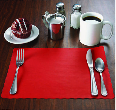 500 Raise® Red Paper Placemats, Scalloped Edge, 10