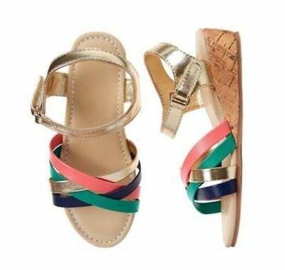 Girls Wedges (NWT Gymboree SUNNY SAFARI Girls GOLD Colorful Wedge Sandals)