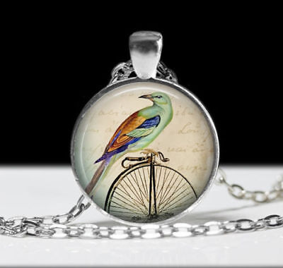 """BICYCLE BIRD women mom pendant Silver 20"""" Necklace cable chain FREE $10 GIFT"""