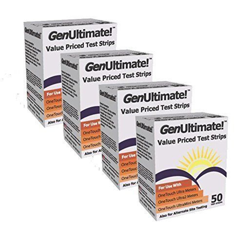 GenUltimate! Blood Glucose Strips 200 count- 4boxes of 50 Ne