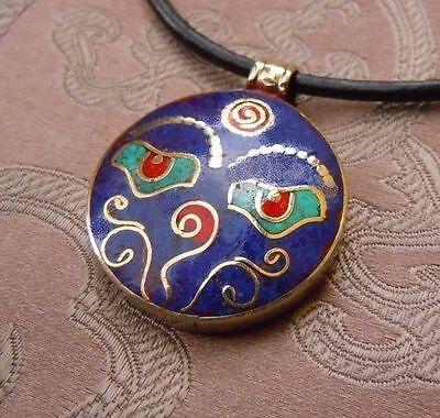 Pretty Silver Buddha Eye Amulet from Nepal Lapis Lazuli