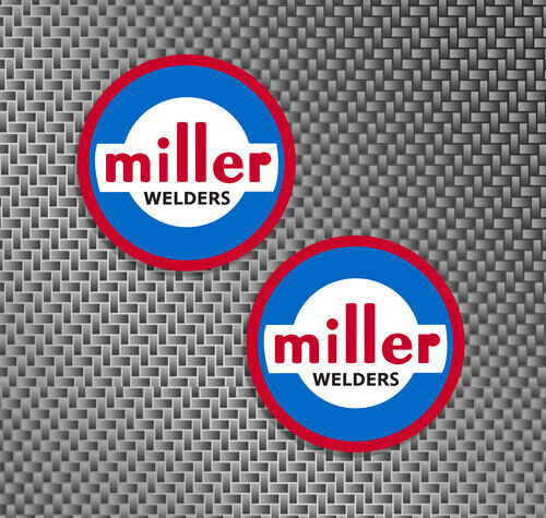 "2x Miller Welder 1960 Style logo size small 2.5"" decals stickers hard hat union"