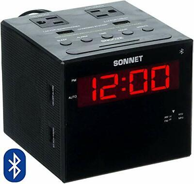 Sonnet Alarm Clock Charging Station Bluetooth Speaker AM FM Radio Dual USB Ch...