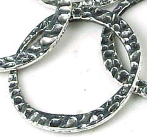 10 Silver Pewter Hammered Disc Large Ring 30mm