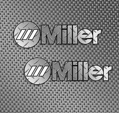 2x Miller Welder Diamond Plate Logo Size Small 6 Decals Stickers