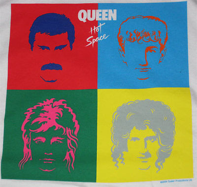 Queen Hot Space _RARE_ L Red RINGER shirt vtg Concert Rock tour t-shirt lp art