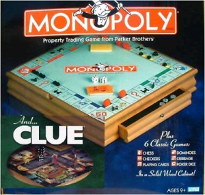 Deluxe Wood Monopoly +7 Games Set