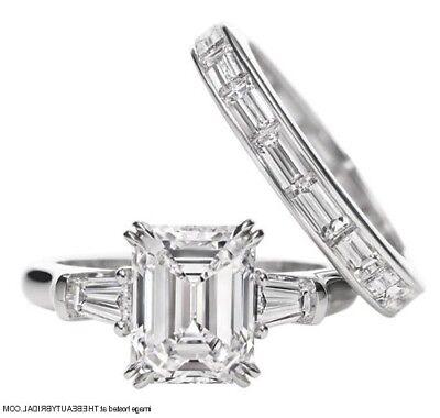 1.24 Ct Three Stone Emerald & Baguette Cut Diamond Engagement Ring I,VS2 GIA 3